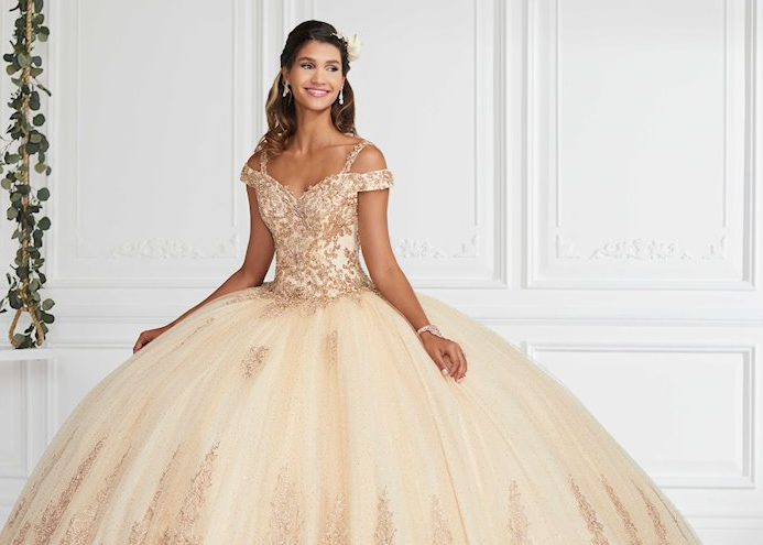 Model wearing a Quinceanera collection Dress